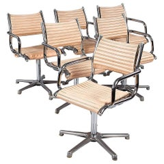 Set of Six Chrome Armchairs with Vinyl Seats by Olymp, Germany, 1970s