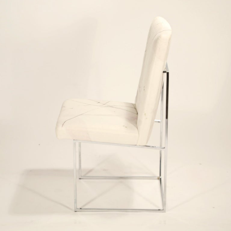 American Set of Six Chrome Dining Chairs by Milo Baughman for Thayer Coggin, circa 1970 For Sale
