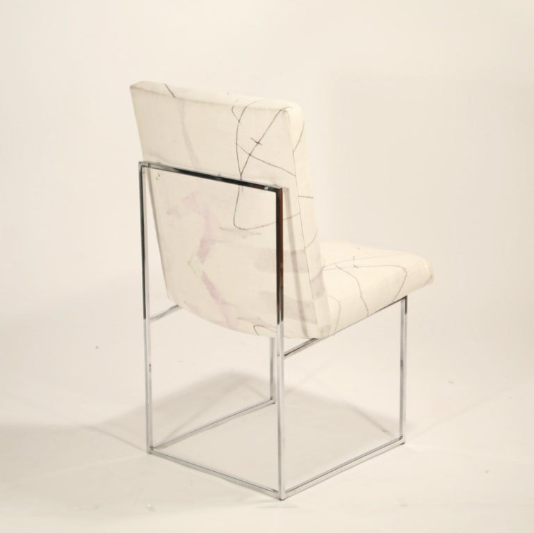 Fabric Set of Six Chrome Dining Chairs by Milo Baughman for Thayer Coggin, circa 1970 For Sale