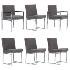 Set of Six Chrome Dining Chairs
