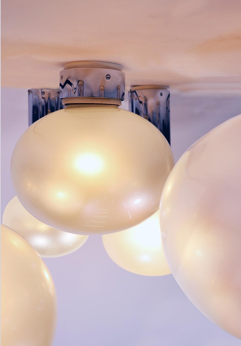 German Set of Six Chrome & Mother of Pearl Lights by Motoko Ishii for Staff, 1970s For Sale