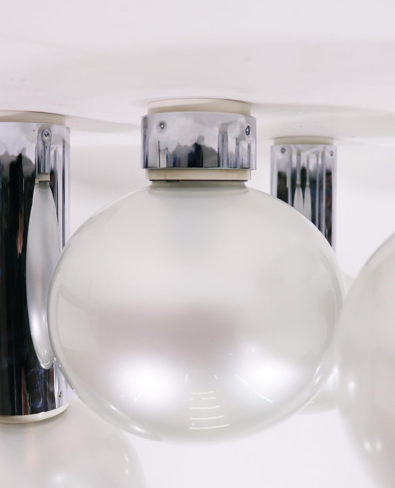 Set of Six Chrome & Mother of Pearl Lights by Motoko Ishii for Staff, 1970s In Good Condition For Sale In Niederdorfelden, Hessen