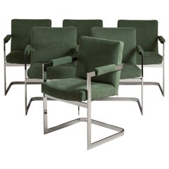 Set of Six Chromium Steel Cantilevered Armchairs, 1970s