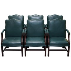 Set of Six circa 1900 Carved Mahogany and Green Leather Gainsborough Armchairs 6