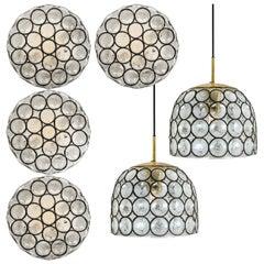 Set of Six Circle Iron and Bubble Glass Sconces Light Fixtures, Glashütte, 1960