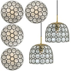 Set of Six Circle Iron and Bubble Glass Sconces Light Fixtures, Glashütte, 1960