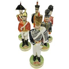 Set of Six Clarice Cliff Hand Painted English Regimental Soldiers