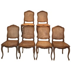 Set of Six Classic French Carved and Caned Louis XV Walnut Chairs