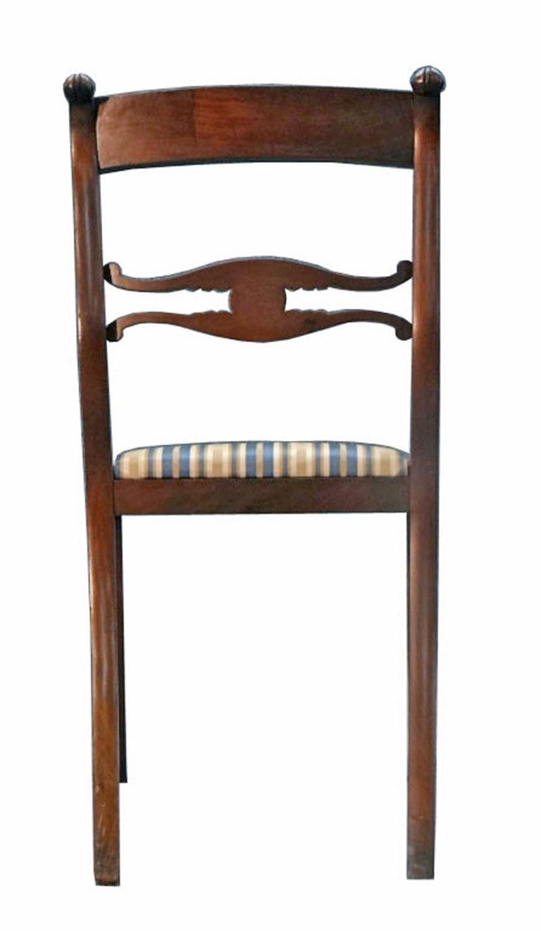 Upholstery Set of Six Classical Dining Chairs Attributable to Duncan Phyfe, New York For Sale