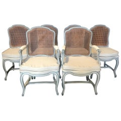 Set of Six Classically Elegant Louis XV French Blue Gray Dining Chairs