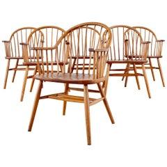 Set of Six Claud Bunyard American Windsor Dining Armchairs