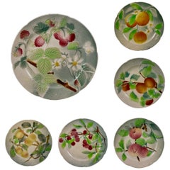 Set of Six Clement French Faïence Fruit Plates, 'b' circa 1900