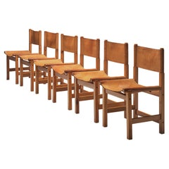 Set of Six Cognac Leather and Pine Wood Dining Chairs