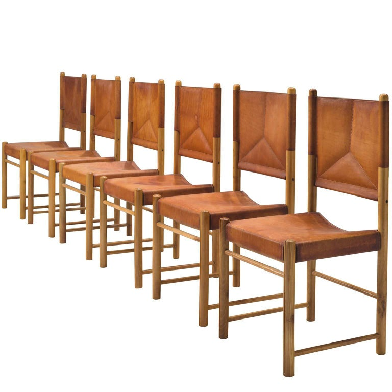 Set of Six Cognac Leather Dining Chairs