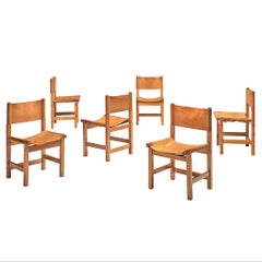Set of Six Cognac Leather and Pine Wood Dining Chairs, France, 1960s
