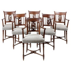 Set of Six Colonial Safari Armchairs with Animals in the Back Splats