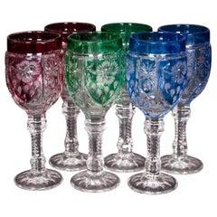 Set of Six Colored Shots Glasses, Poland, 1960s