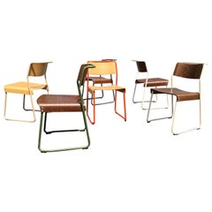 Set of Six Colorful Dining Chairs by Ed Carpenter & Andre Klauser, Canteen Chair