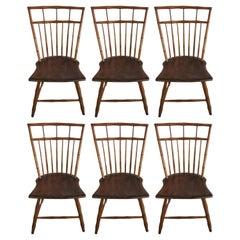 Set of Six Comb-Back Windsor Side Chairs, circa 1840