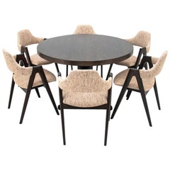 Set of Six Compass Chairs by Kai Kristiansen with Table, Danish Design, 1960s