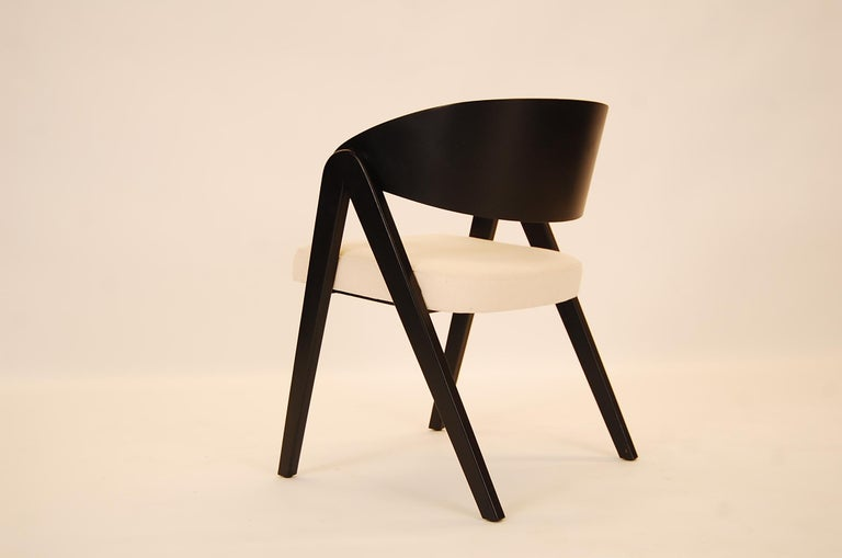 Lacquered Set of Six Compass Dining Chairs Designed by Allan Gould For Sale