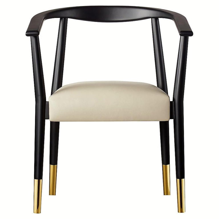 Set of Six Contemporary Black Wood Dining Armchair ...