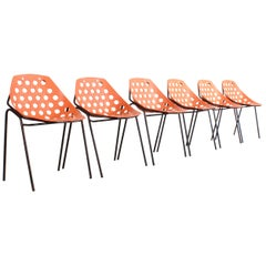 Set of Six 'Coquillage' Chairs by Pierre Guariche for Meurop, 1960s