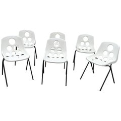 Set of Six Coquillage Stacking Chairs in the style of P. Guariche, circa 1960
