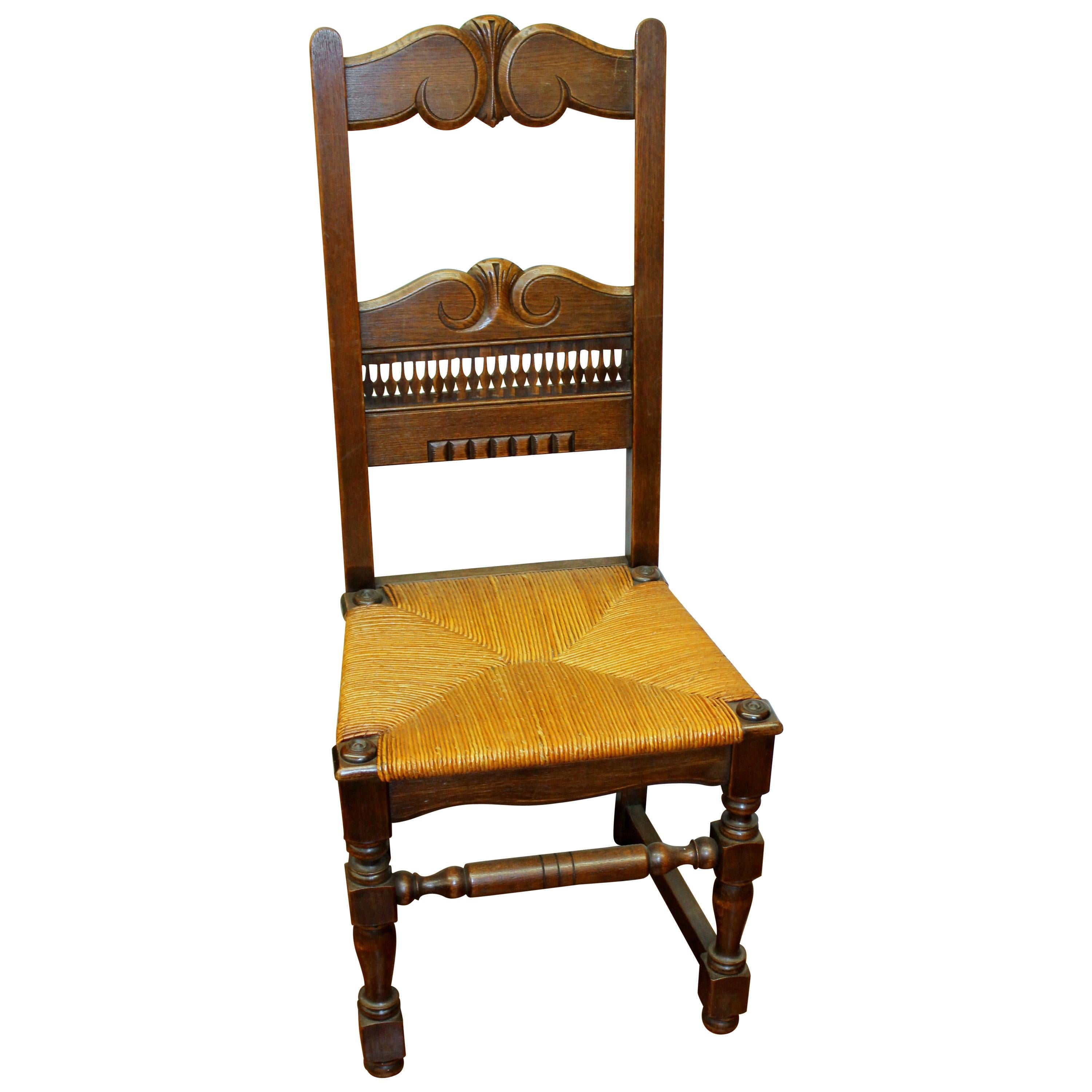 Set of Six Country French Hand-Carved Solid Oak Rush Seated Dining Chairs