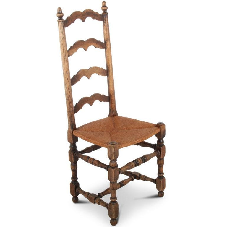 Set Of Six Country French Ladder Back Dining Chairs