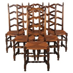 Set of Six Country French Ladder-Back Dining Chairs