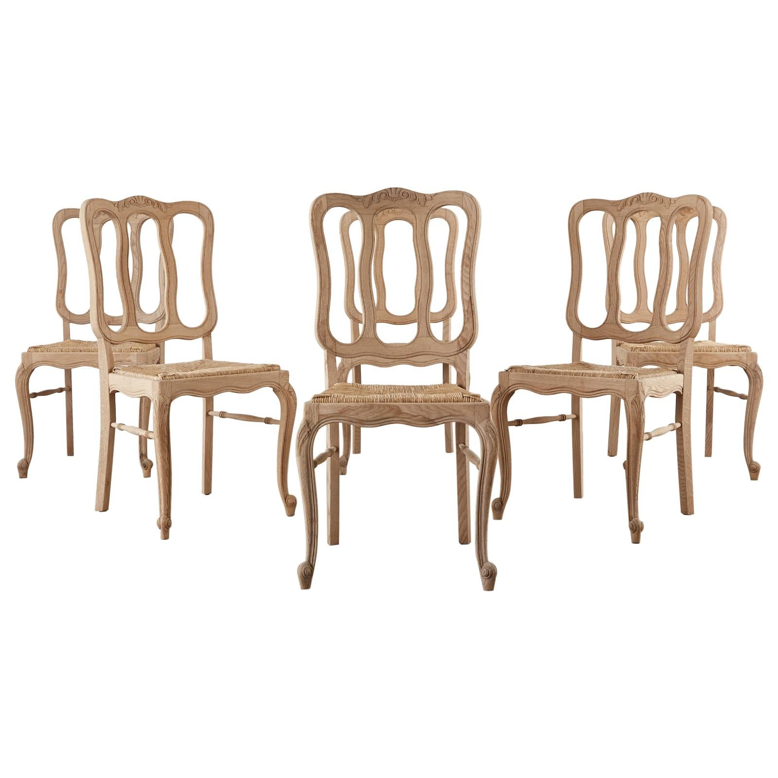 Set of Six Country French Provincial Oak Dining Chairs