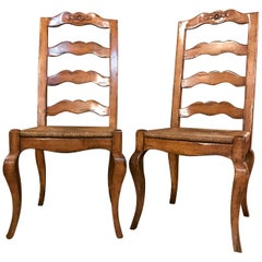 Set of Six Country French Rush Seat Dining Room Chairs