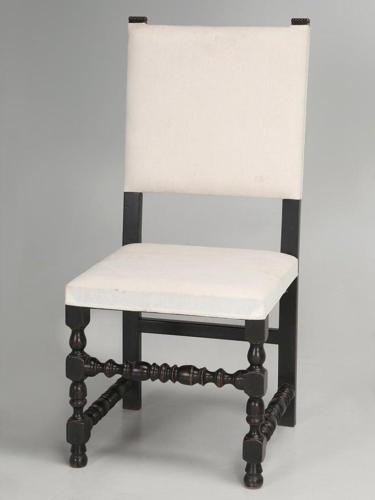 Set of Six Country French Throne Style Dining Chairs For Sale 5