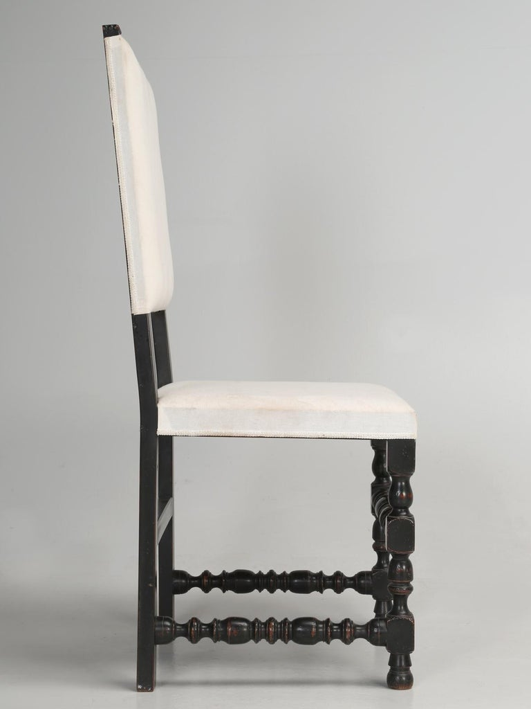Set of Six Country French Throne Style Dining Chairs For Sale 6