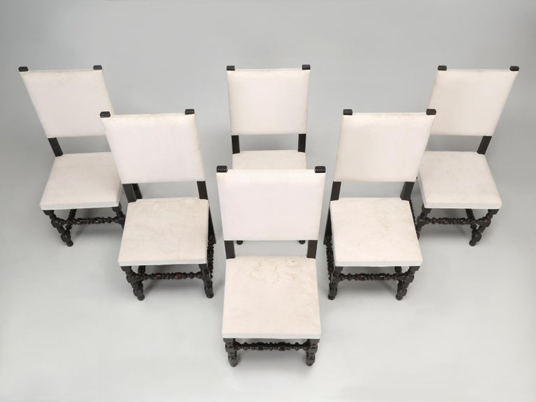 Early 2000s Set of Six Country French Throne Style Dining Chairs For Sale