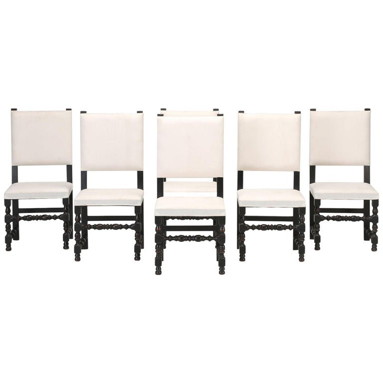 Set of Six Country French Throne Style Dining Chairs For Sale