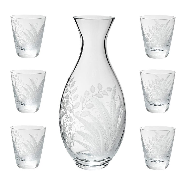 German Set of Six Country Style Glass Tumbler with Fern Sofina Boutique Kitzbühel For Sale