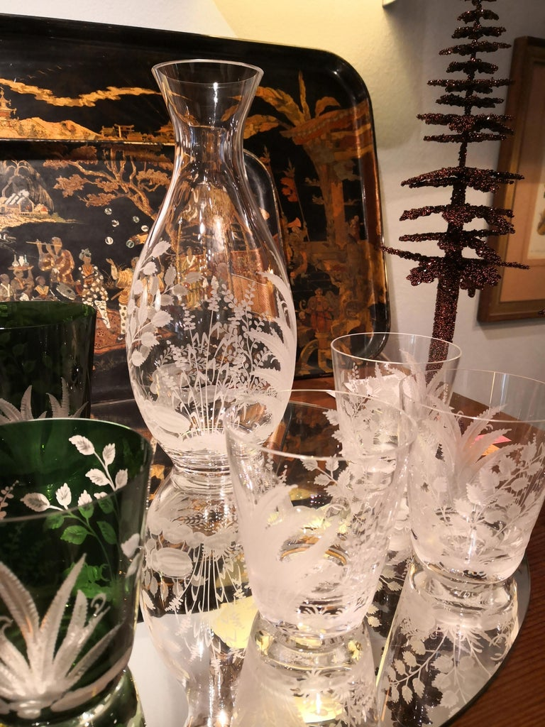 Hand-Crafted Set of Six Country Style Glass Tumbler with Fern Sofina Boutique Kitzbühel For Sale