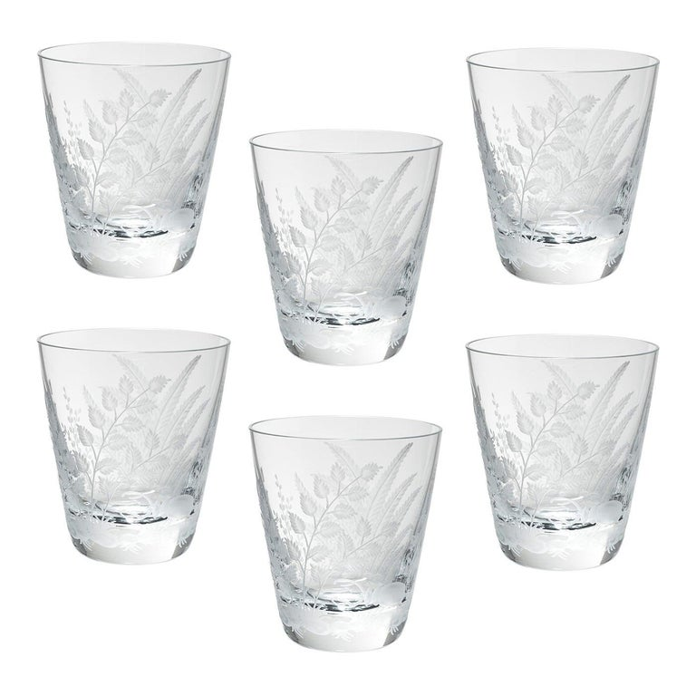 Set of Six Country Style Glass Tumbler with Fern Sofina Boutique Kitzbühel For Sale