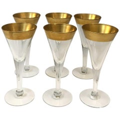 Set of Six Crystal Gold Rim Cordial Glasses by Dorothy Thorpe