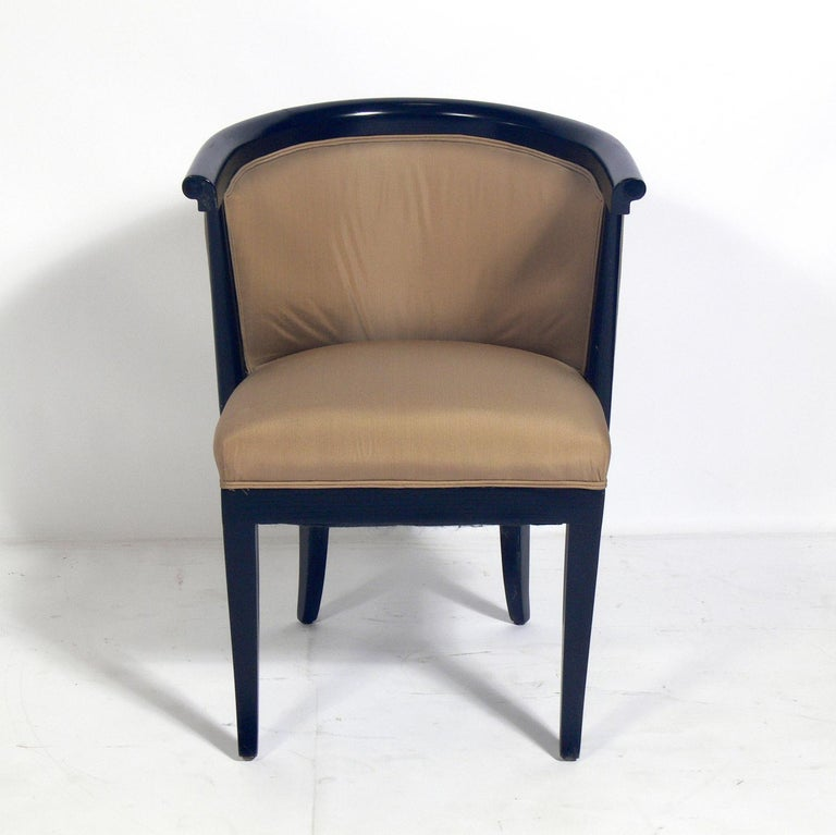 Set of six curvaceous dining chairs, designed by Harold Schwartz for RomWeber, American, circa 1950s. These chairs are currently being refinished and reupholstered. The price noted includes refinishing in your choice of color and reupholstery in