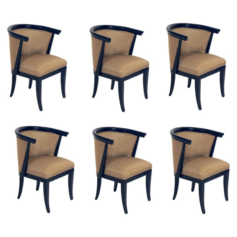 Set of Six Curvaceous Dining Chairs by RomWeber For Sale