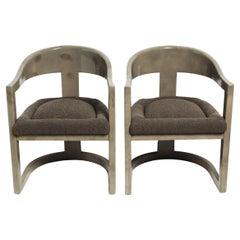 Custom Olive Goatskin Onassis Chairs in the Manner of Karl Springer