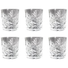 Set of Six Cut Glass  Stourbridge Crystal Spirit Glasses