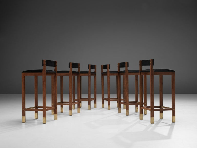 Mid-Century Modern Set of Six Danish Bar Stools in Teak For Sale