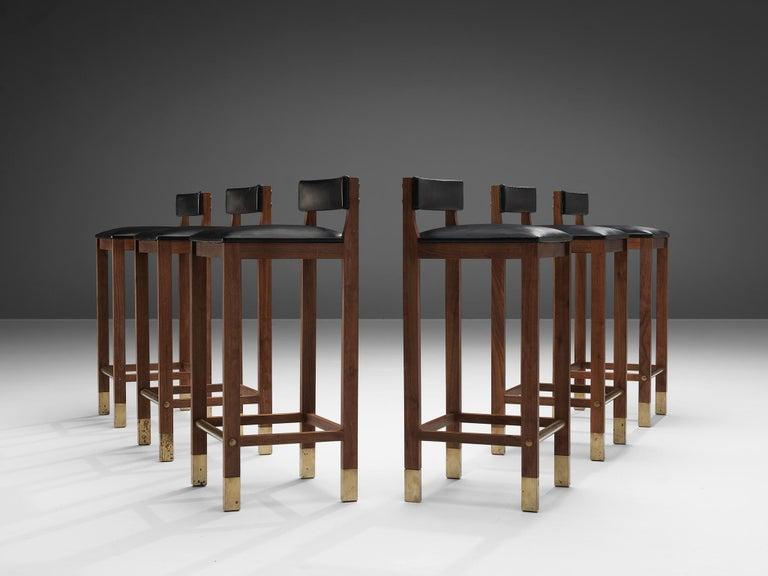 Mid-20th Century Set of Six Danish Bar Stools in Teak For Sale