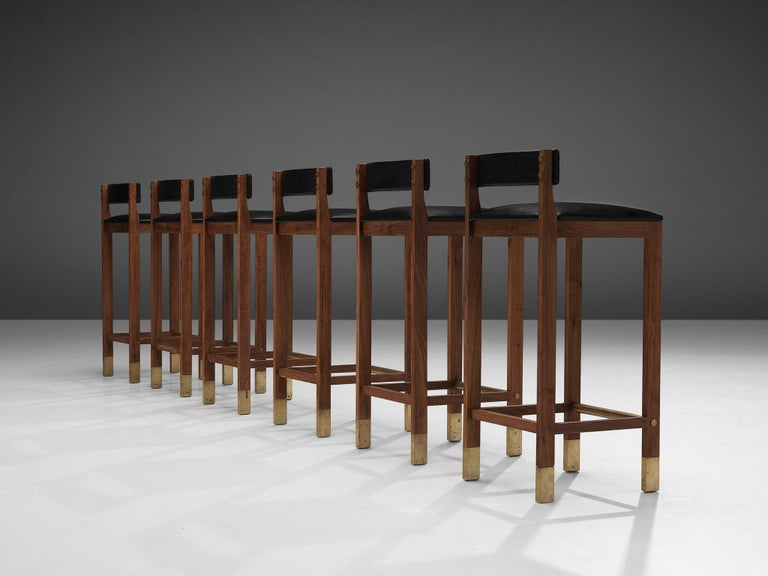 Set of Six Danish Bar Stools in Teak For Sale 1