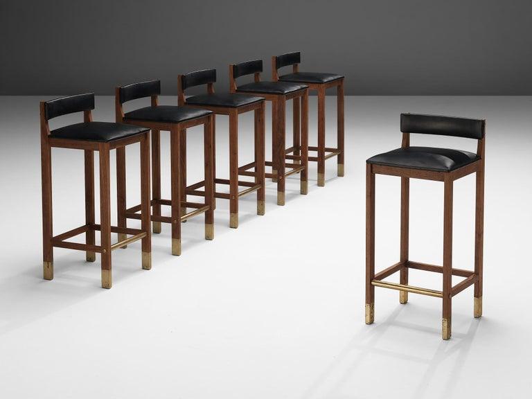 Set of Six Danish Bar Stools in Teak For Sale 3