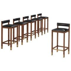 Set of Six Danish Bar Stools in Teak